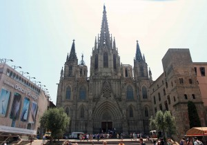 "The facade of the Barcelona Cathedral (known as the ""Cathedral of the Holy Cross and Saint Eulalia"")."