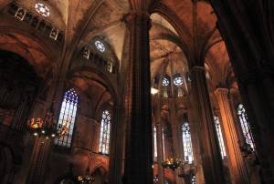 The interior of the Barcelona Cathedral.