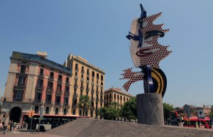 'The Head of Barcelona', a surrealist sculpture created by American Pop artist Roy Lichtenstein for the 1992 Summer Olympics in Barcelona.