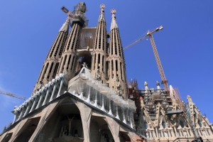 The northeastern facade of the Sagrada Família, which was designed by Catalan architect Antoni Gaudí.