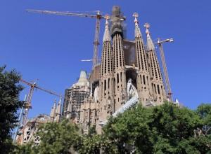 The Sagrada Família seen from the Plaça de la Sagrada Família.