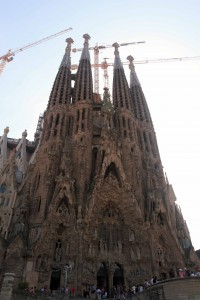 The southwestern facade of the Sagrada Família; construction had commenced in 1882 AD and Gaudí became involved the following year (obviously it still has not been finished).