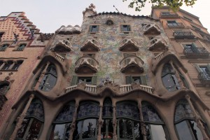 Front-view of Casa Batlló (a remodel of a previously built house, it was redesigned in 1904 AD by Gaudí and has been refurbished several times after that).