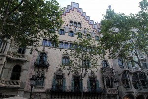 Front-view of Casa Amatller (a building in the Modernisme style that was constructed in 1900 AD and was designed by Josep Puig i Cadafalch).
