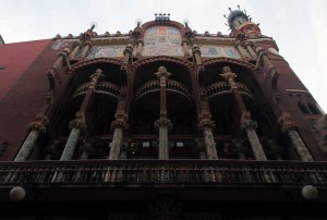 "The facade of the Palau de la Música Catalana (""Palace of Catalan Music,"" which was built by the architect Lluís Domènech i Montaner in 1908 AD)."