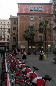 Bicycles parked and locked next to the Palau de la Música Catalana.