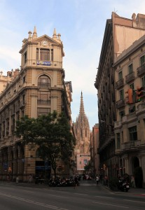 The Barcelona Cathedral seen through a narrow street (Carrer del Doctor Joaquim Pou).