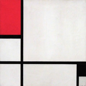 'Composition No. 1, with red and Black' by Piet Mondrian (1929 AD) - on display in the Museo Reina Sofía.