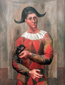 'Harlequin with Mask' by Pablo Picasso (1918 AD).