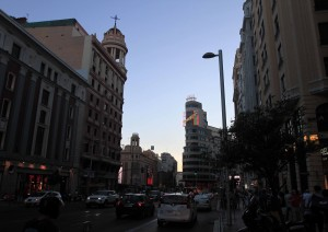 """Gran Via (""""the Spanish Broadway"""") in the evening."""