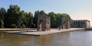 Temple of Debod, an ancient Egyptian temple which was dismantled and rebuilt in Madrid.
