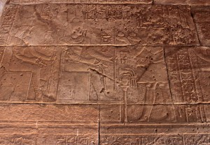 Hieroglyphics inside the Temple of Debod.