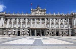 Another photograph of the Royal Palace of Madrid, taken from the Plaza de la Armeria.