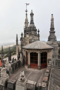 Towers and turrets seen from the palace's panoramic terrace.