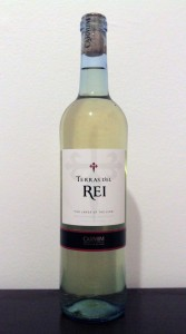 A bottle of Portuguese white wine (made of Saria, Rabo-de-ovelha, and Antāo Vaz grapes).