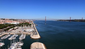 View of the Tagus River and the 25 de Abril Bridge from the top of the Monument of the Discoveries.