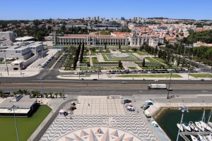 View of Jeronimos Monastery from the top of the Monument of the Discoveries.
