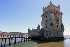 Belem Tower, a fortified tower that was built in the early 16th-century AD and constructed in the Manueline style.