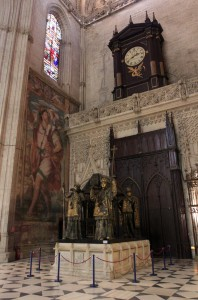 The Tomb of Christopher Columbus inside the cathedral.