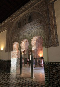 Moorish arches inside the palace.