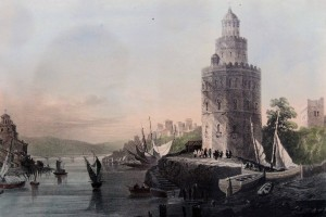 A lithograph depicting the Torre del Oro (from 1840 AD).