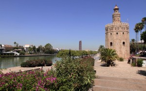 View of the Torre del Oro and the Guadalquivir River.