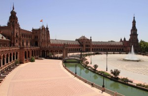 View of the Plaza de España from its upper level - the plaza is a landmark example of the Renaissance Revival style in Spanish architecture.