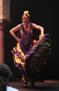 A flamenco dancer performing at the Museo del Baile Flamenco.