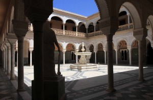 The main courtyard inside the Casa de Pilatos.