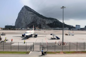 The Rock of Gibraltar, seen from Gibraltar International Airport.