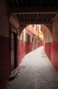 Colorful street in Tangier's medina.