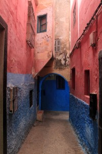 Red and blue street in the medina.