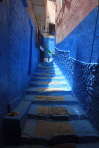 Blue steps in the medina.