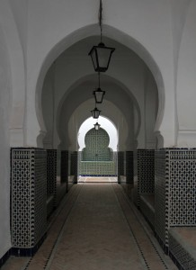 Corridor with Islamic arches.