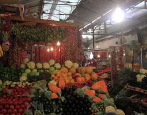 Fruits and vegetables on sale in the market in Tangier's medina.