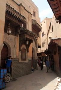 The entrance to the Mosque and Mausoleum of Sidi Ahmad al-Tijani (on the left).