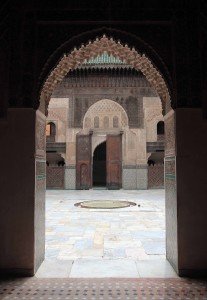 Looking through a doorway in Bou Inania Madrasa.