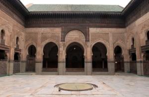 The courtyard inside of Bou Inania Madrasa.