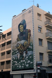 Art on the side of a building in Rabat.
