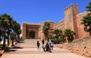 Steps leading up to a large entrance to the Kasbah of the Udayas.