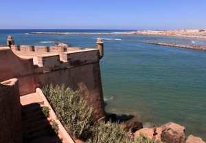 Battlement of the Kasbah overlooking the mouth of the Bou Regreg River.