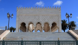 Part of the Mausoleum of Mohammed V, located opposite the Tower of Hassan.