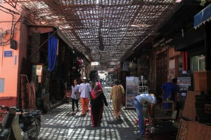 A covered market in Marrakesh.