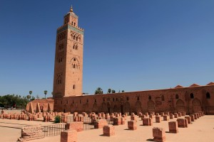 The Koutoubia Mosque, which was completed under the reign of the Berber Almohad Caliph Yaqub al-Mansur (1184-1199 AD).