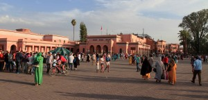 Buildings on the edge of the square of Djemaa El-Fna.