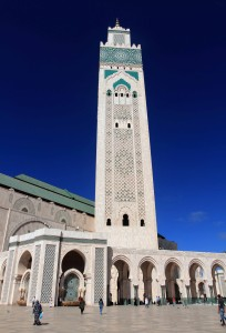 View of the minaret for the Hassan II Mosque, which was completed in 1993 AD.