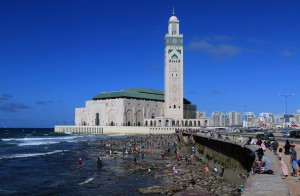 Hassan II Mosque seen from the coastline.