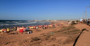 The beach north of Casablanca, on the Atlantic coast of Morocco.