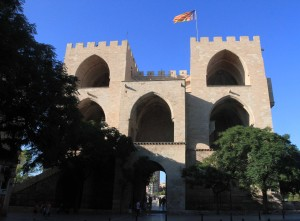 "The backside of Torres de Serranos (or ""Serranos Gate""), one of the twelve gates that formed part of the ancient city wall of Valencia."