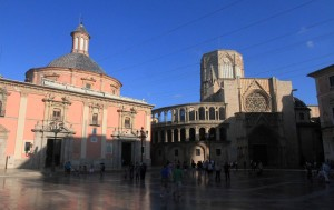 "Backside of the Valencia Cathedral (or the ""Metropolitan Cathedral–Basilica of the Assumption of Our Lady of Valencia"")."